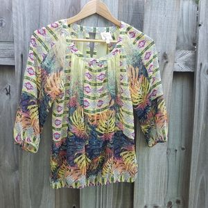 Anthropologie FIG AND FLOWER Boho yellow top